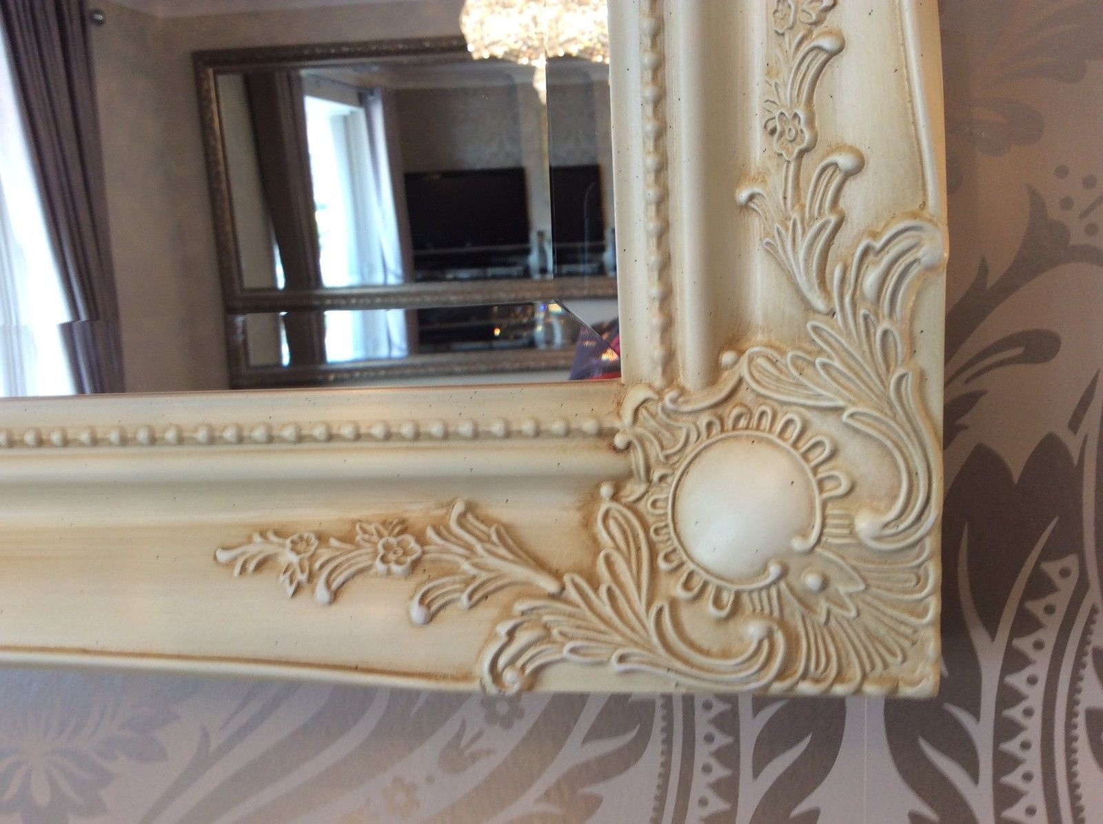 Large Cream Decorative Stunning Shab Chic Wall Mirror Free Pp In Shabby Chic Large Wall Mirrors (View 13 of 15)