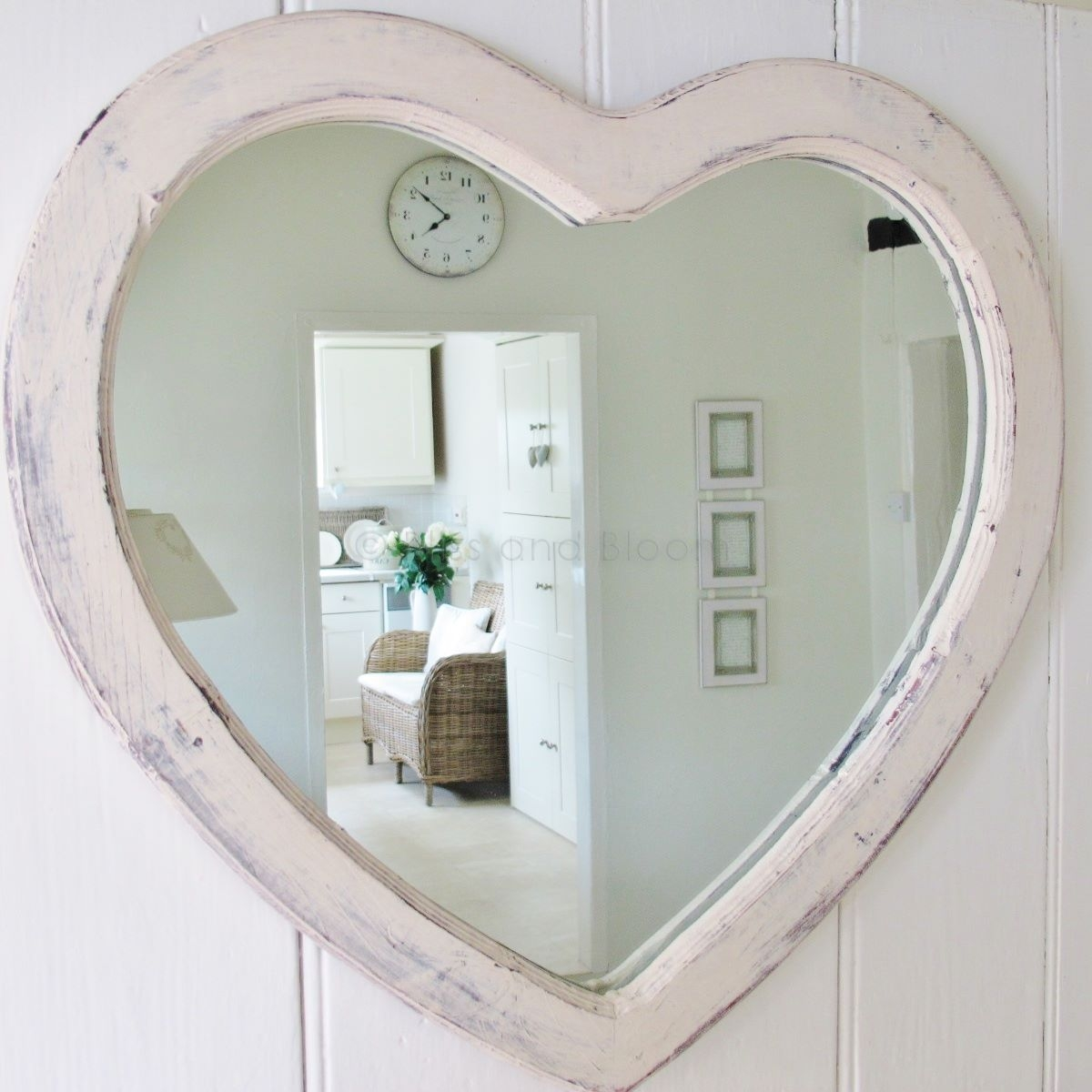 Large Cream Heart Wall Mirror Bliss And Bloom Ltd For Large Heart Mirror (Image 8 of 15)