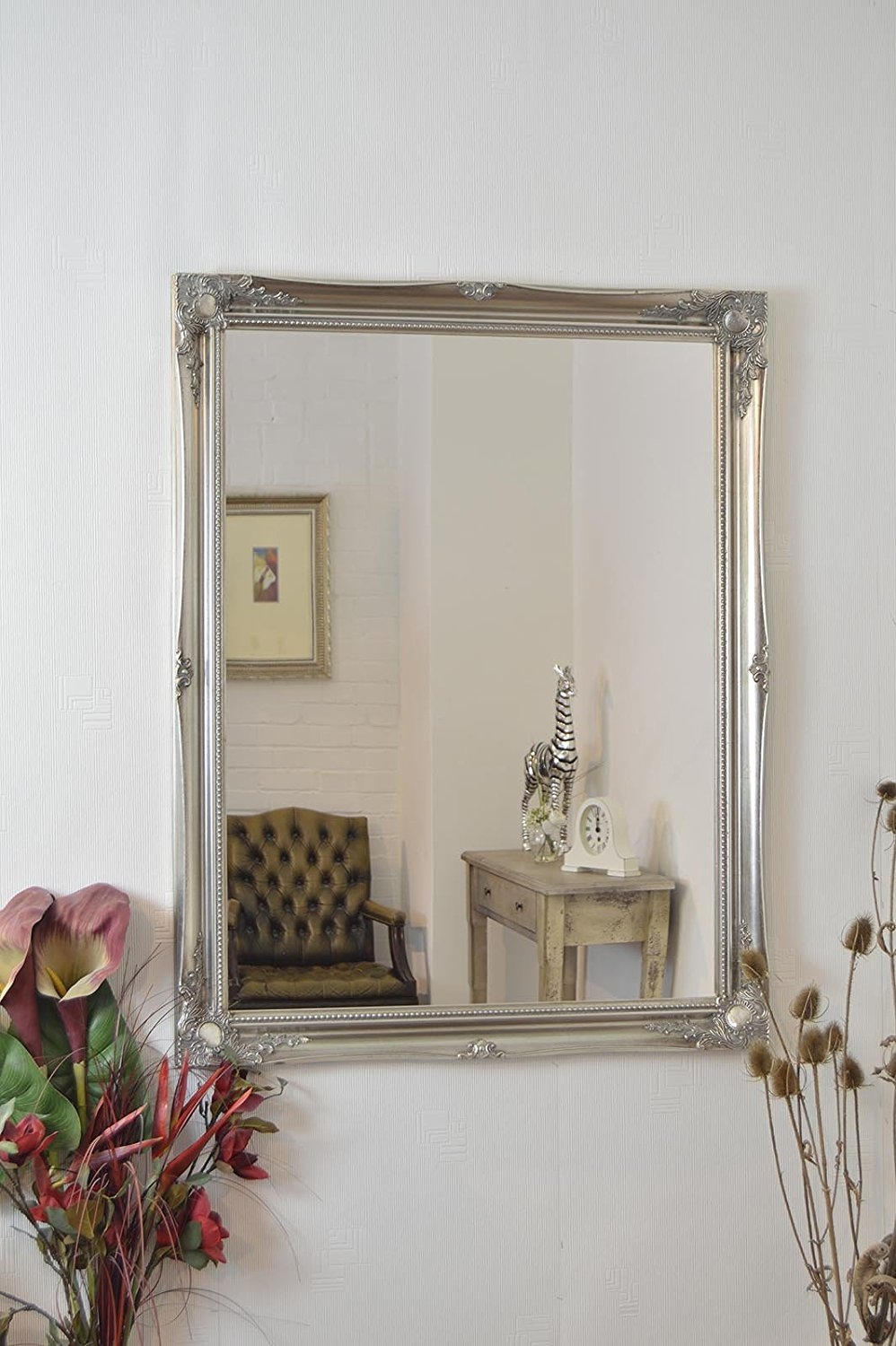 Large Cream Ivory Antique Framed Bevelled Mirror 36inch X 26inch Within Large Cream Mirror (Image 11 of 15)