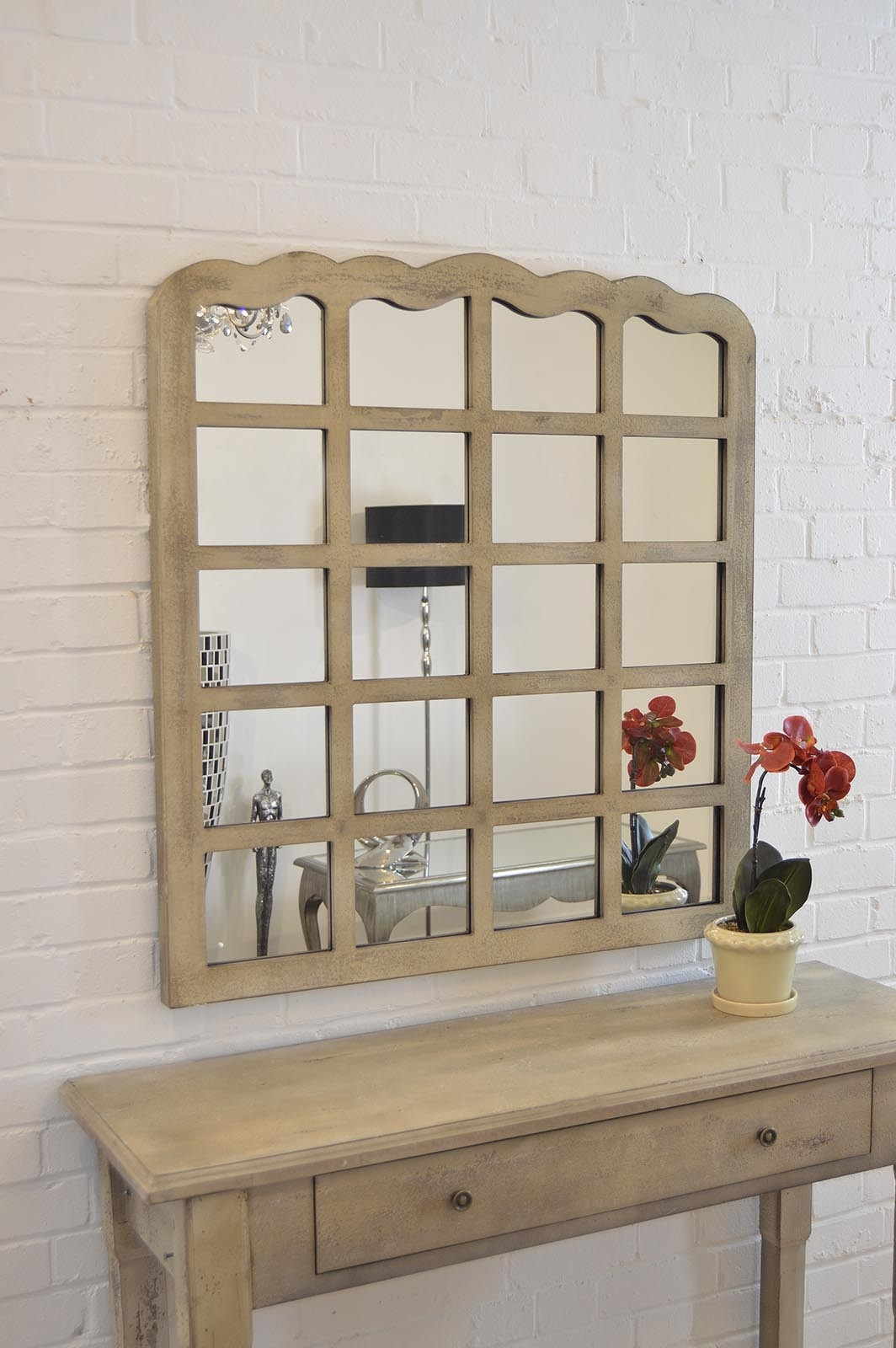 Large Cream Shab Chic Multi Panelled Overmantle Mirror 3ft3 X Throughout Shabby Chic Mirror With Shelf (Image 10 of 15)