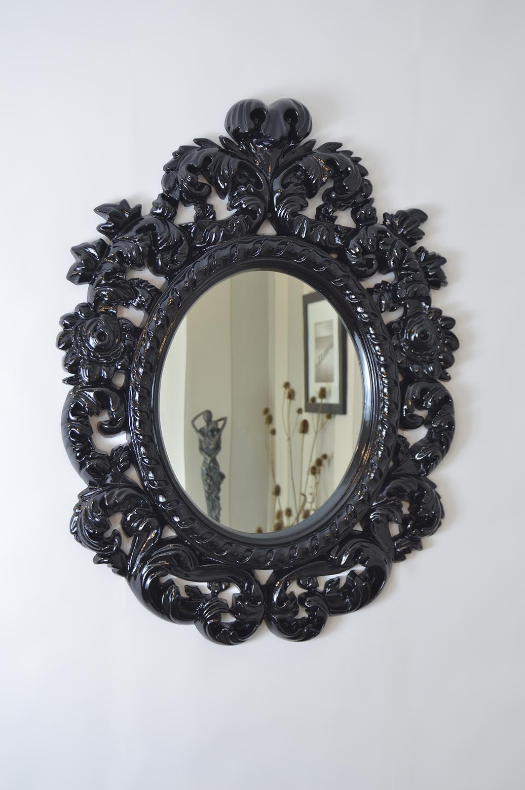 Large Decorative Gloss Black Antique Style Wall Mirror 3ft3 X 2ft5 Pertaining To Black Oval Wall Mirror (Image 5 of 15)