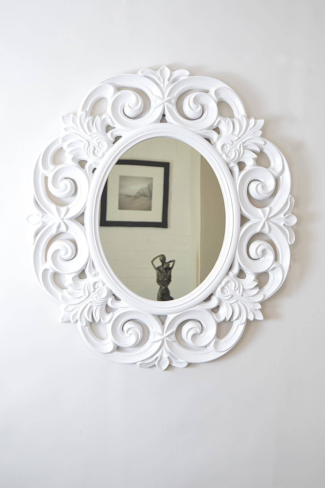 Large Decorative Matt White Ornate Style Oval Wall Mirror 3ft X Within White Ornate Mirror (Image 6 of 15)