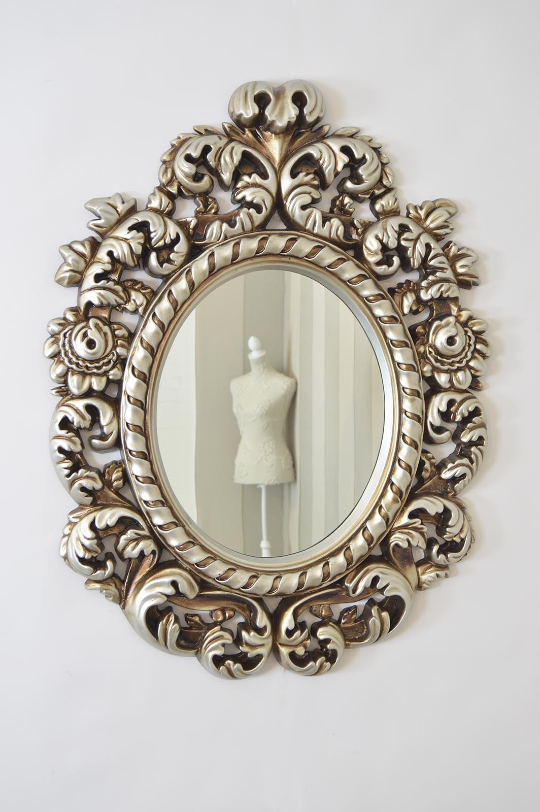 Large Decorative Silver Antique Style Portrait Wall Mirror 3ft3 X Inside Antique Style Mirrors Wall (Image 7 of 15)