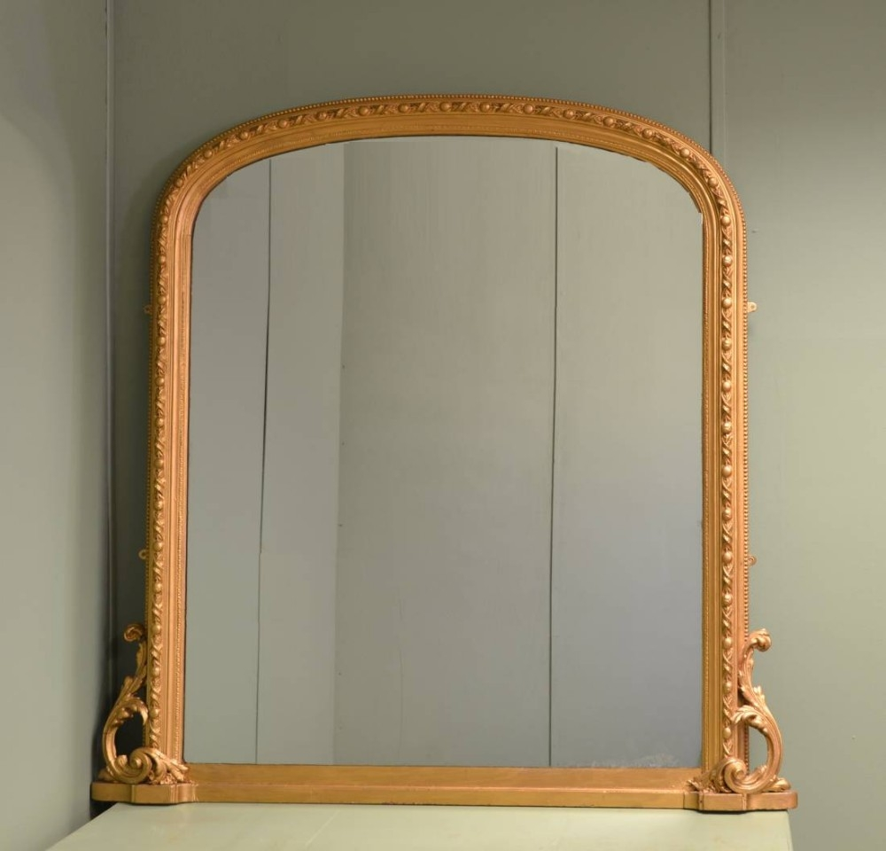 Large Decorative Victorian Antique Overmantle Mirror 284991 With Regard To Antique Overmantle Mirrors (Image 12 of 15)