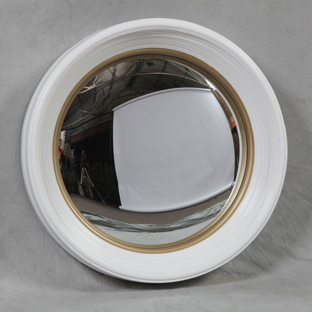 Large Deep White Framed Convex Mirror For White Convex Mirror (View 1 of 15)