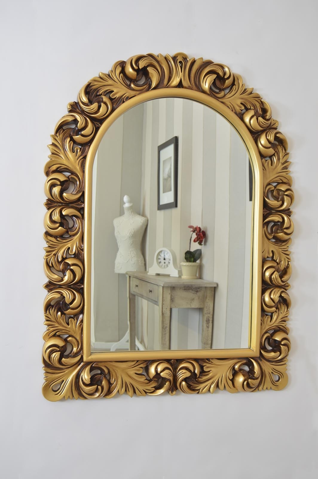 Large Detailed Antique Gold Arched Ornate New Wall Mirror 4ft X In Ornate Large Mirror (Image 7 of 15)