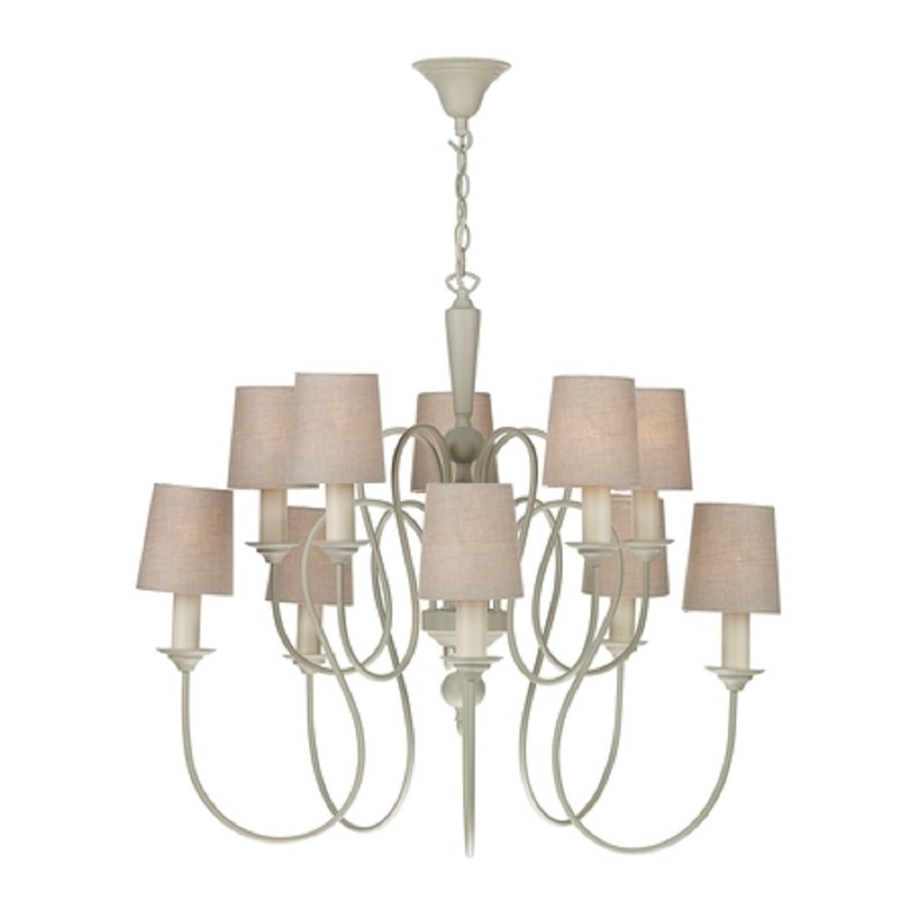 Large Edwardian Cream Painted Chandelier 10 Candle Light With Shades With Regard To Large Cream Chandelier (Image 12 of 15)