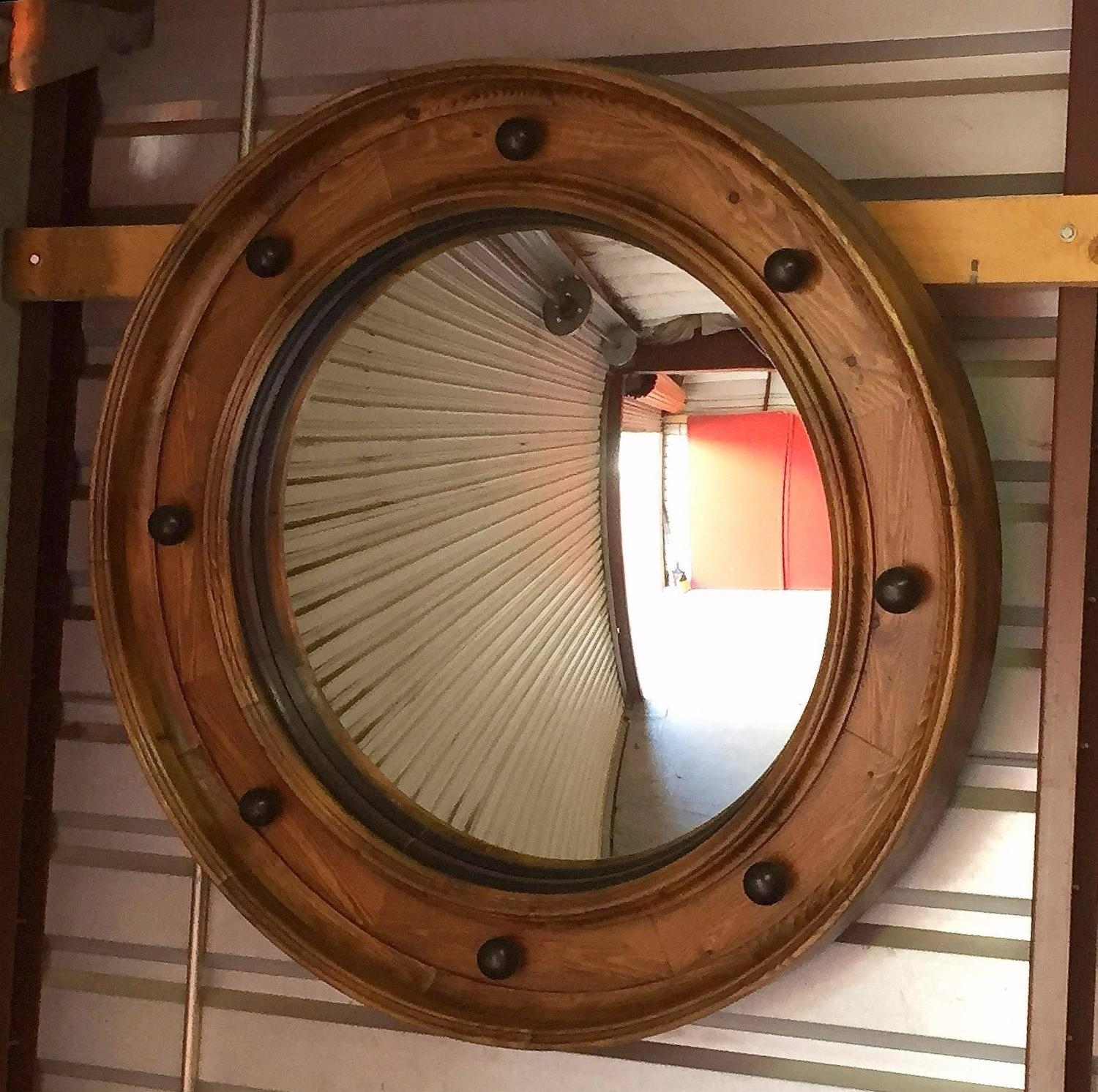 Large English Convex Mirror 42 Diameter From A Unique Throughout Curved Mirrors For Sale (Image 5 of 15)