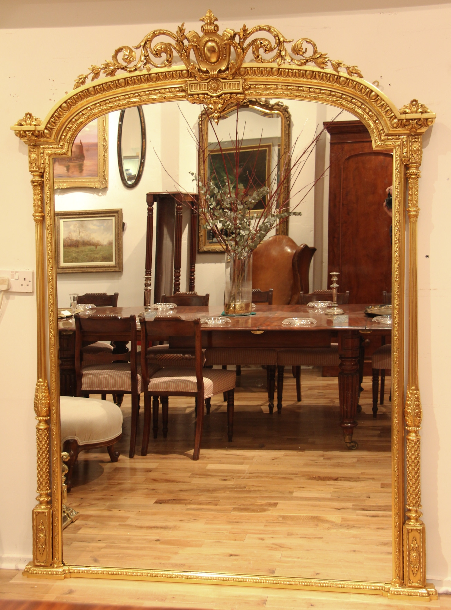 Large English Mid 19th Century Adam Style Arch Top Overmantle Inside Large Overmantle Mirror (Image 9 of 15)