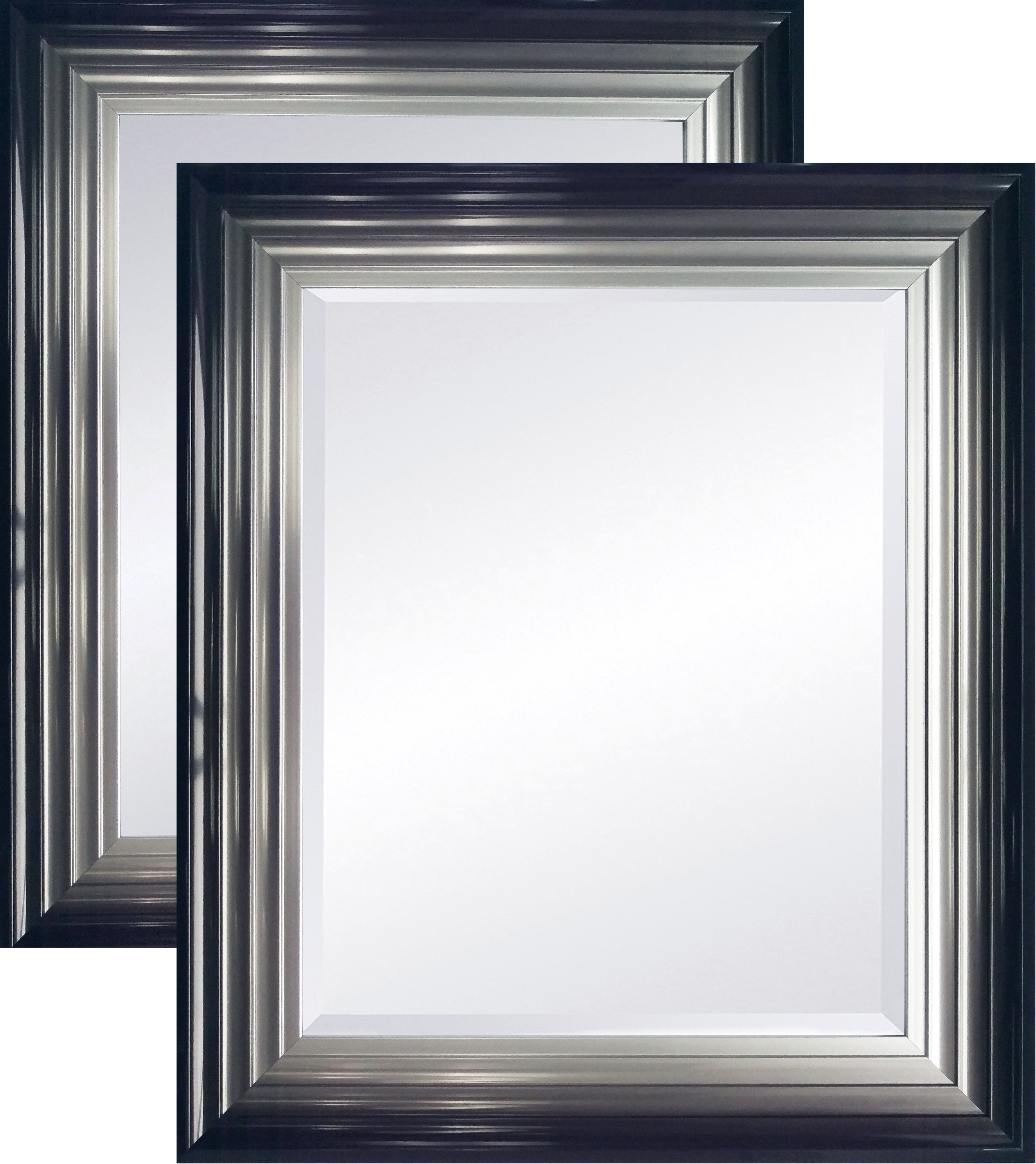 Large Firenza Black And Silver Mirror Various Sizes Throughout Double Bevelled Mirror (Image 5 of 15)