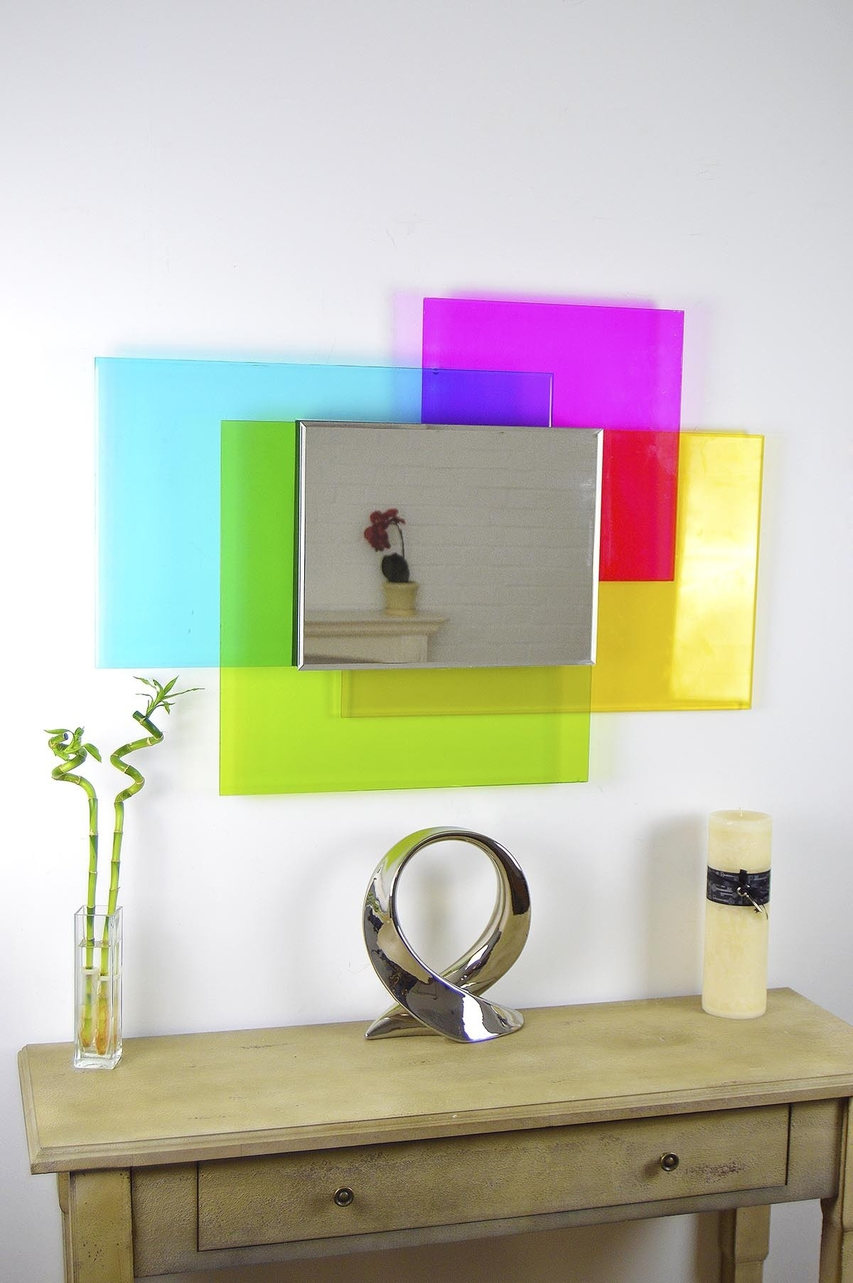 Large Four Colour Surround Venetian Wall Mirror 3ft4 X 2ft4 101cm Regarding Funky Wall Mirror (Image 9 of 15)
