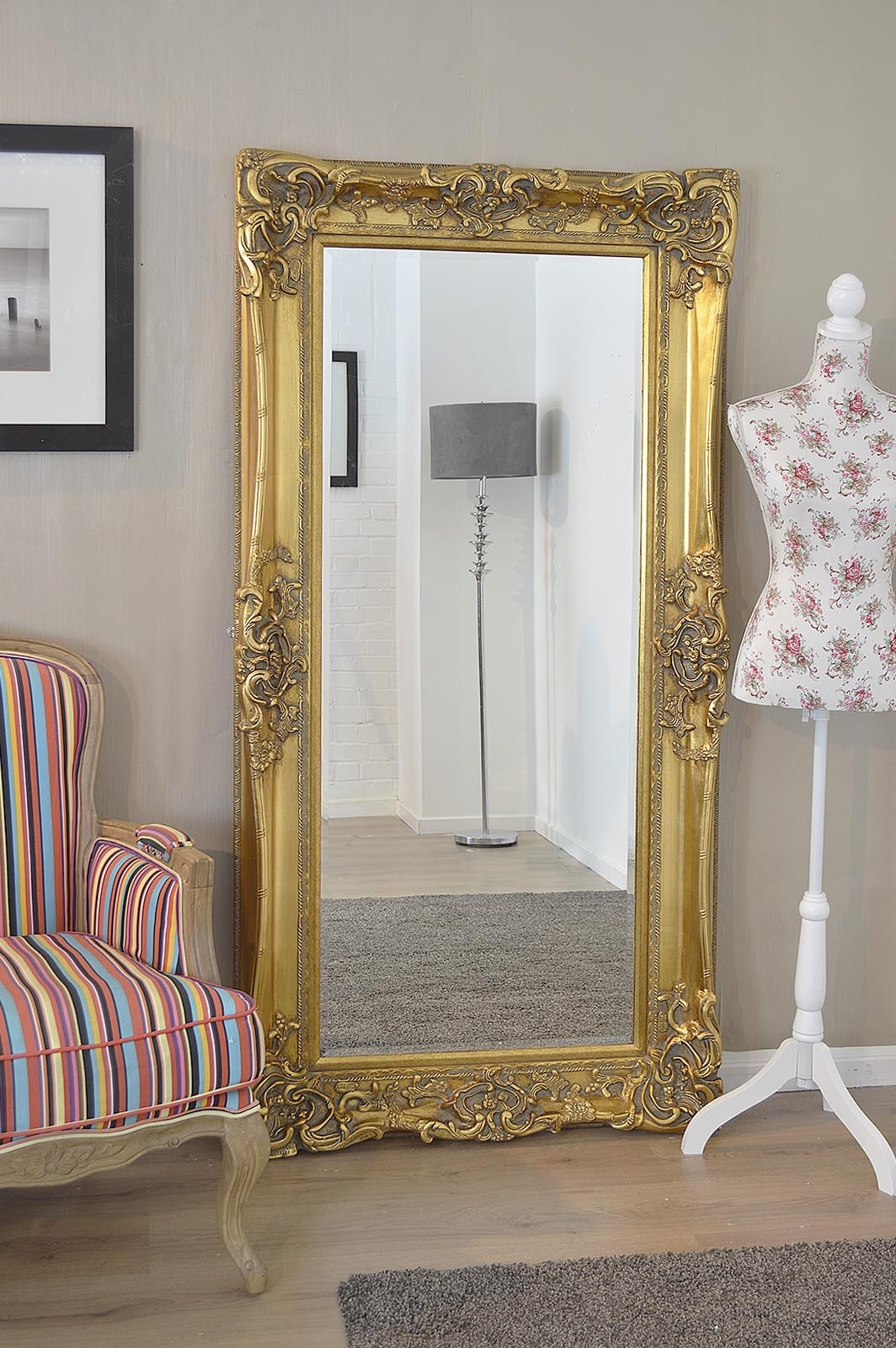 Large Frame Gold Antique Shab Chic Ornate Wall Mirror 6ft X 3ft With Regard To Antique Ornate Mirror (Image 7 of 15)
