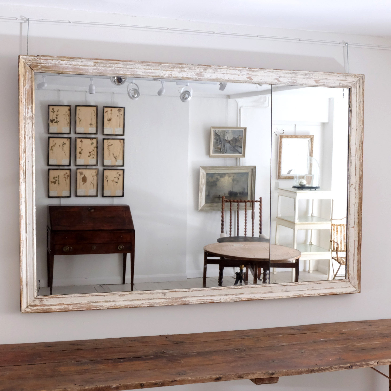 Large French Antique Mirror Puckhaber Decorative Antiques With Regard To Large White Antique Mirror (Image 8 of 15)