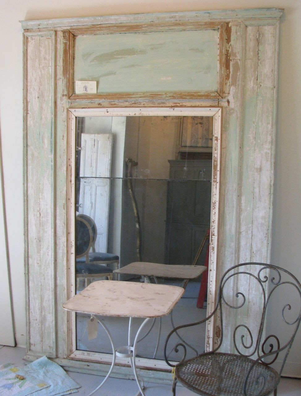 Large French Antique Trumeau Mirror In Boiserie From Frenchantique Inside Large French Mirror (Image 8 of 15)