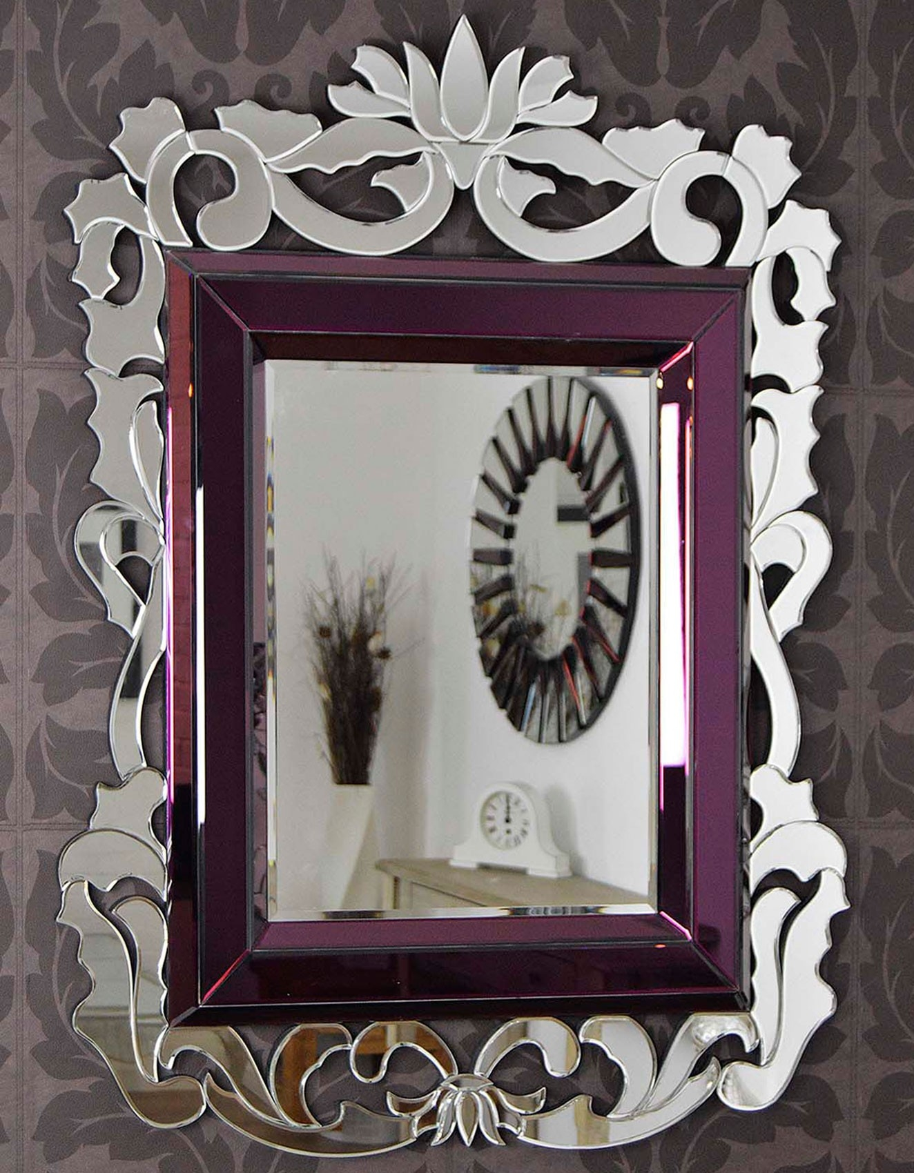 Large French Baroque Purple Venetian Wall Mirror 4ft5 X 3ft3 For Large Venetian Mirror (View 13 of 15)