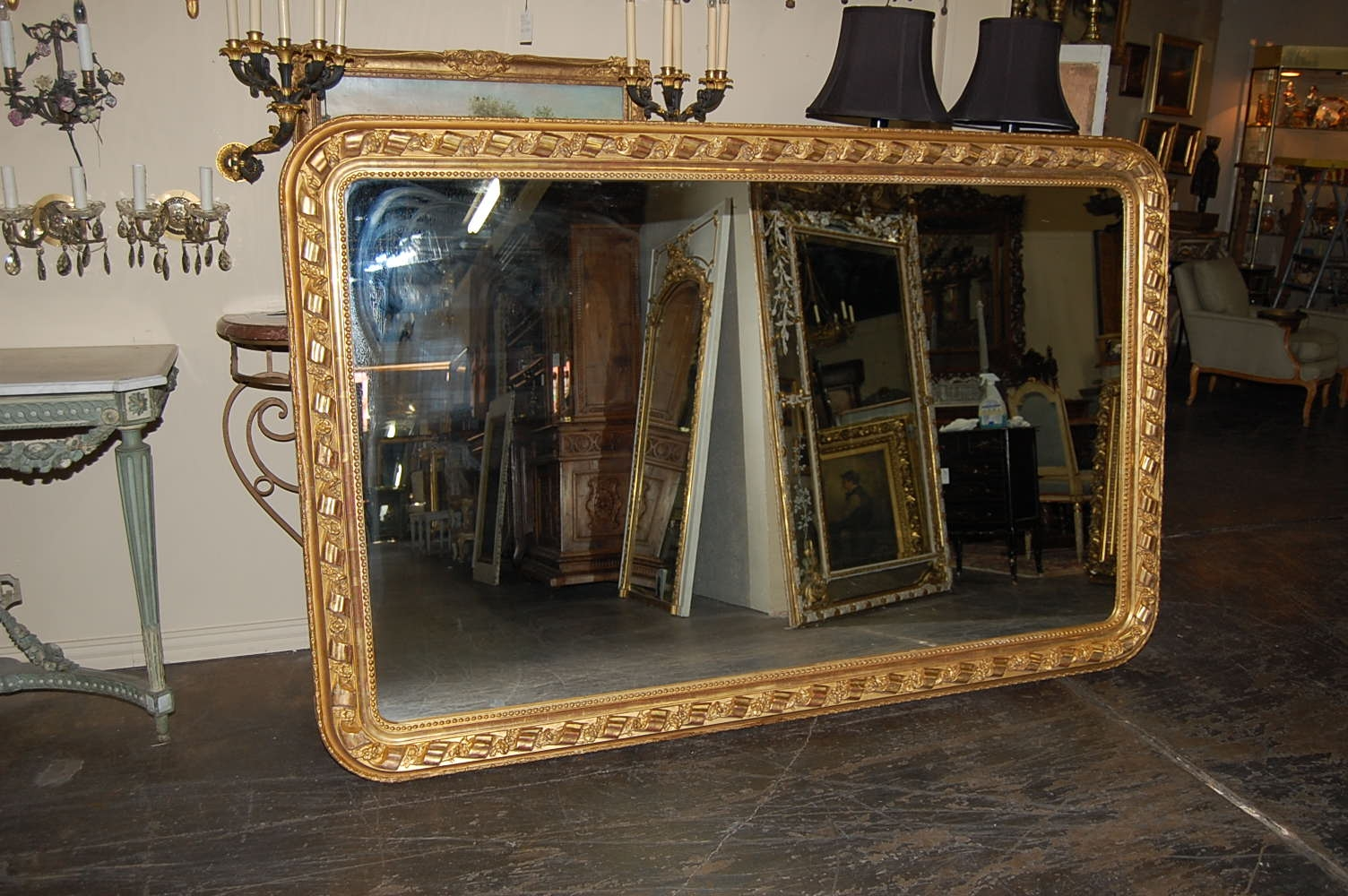 Large French Horizontal Mirror For Sale Antiques Classifieds Pertaining To Large Mirrors Cheap (Image 12 of 15)