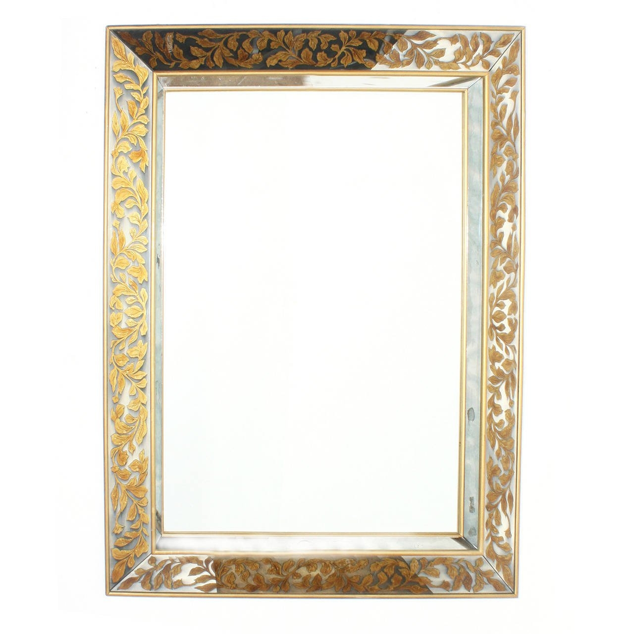 Large French Mirror With Gold Leaf Frame And Glomis Leaves Inside Large French Mirror (Image 13 of 15)
