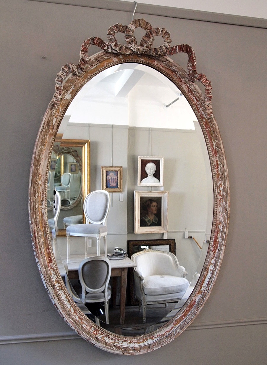 Large French Oval Mirror Puckhaber Decorative Antiques In Large Oval Mirrors (Image 4 of 15)