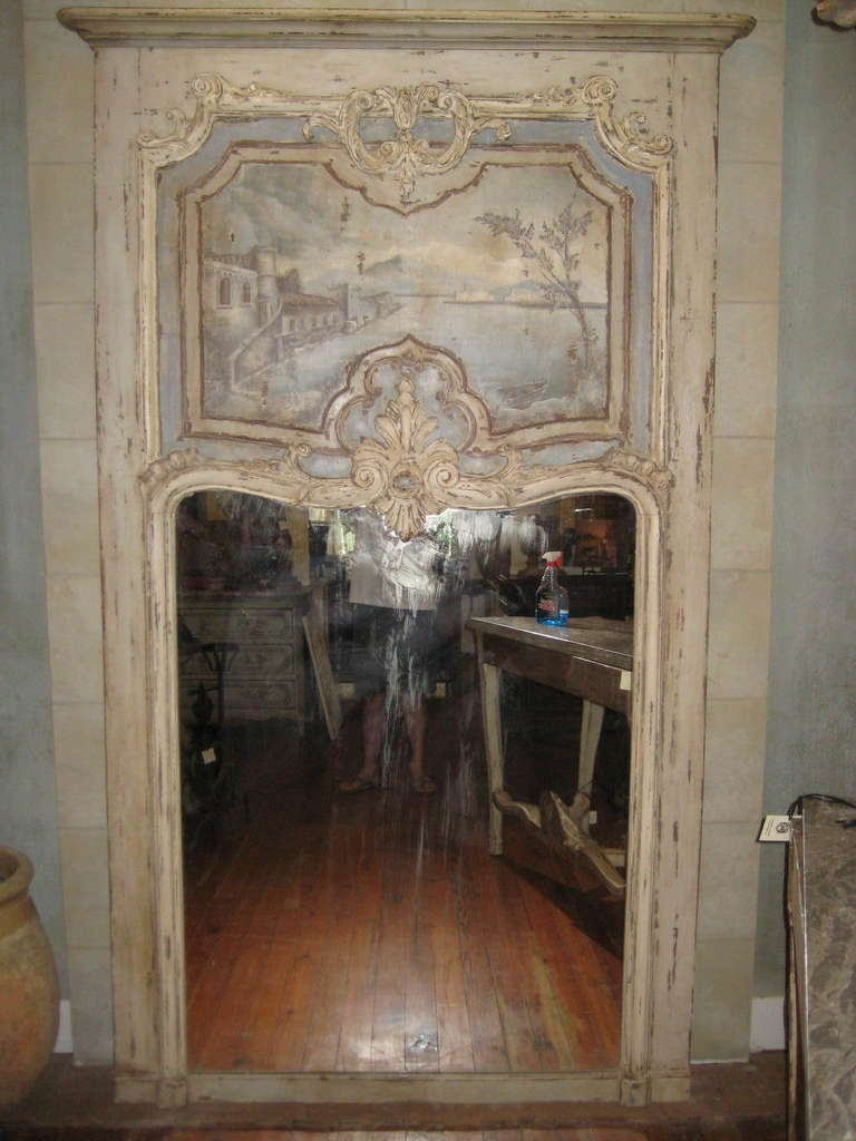 Large French Trumeau Mirror From Late 1800s At 1stdibs With Regard To Large French Mirror (Image 14 of 15)