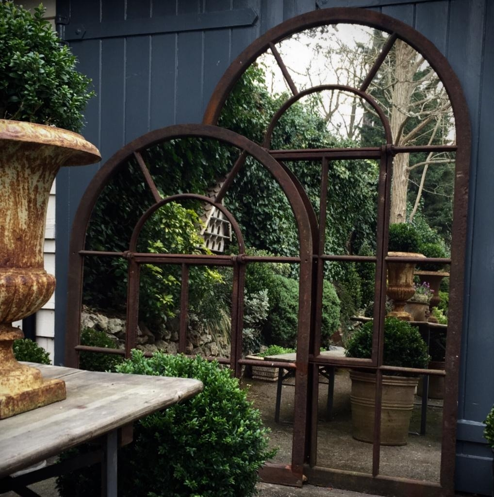 Large Full Arch Architectural Window Mirror Garden Mirrors Tagr Throughout Garden Window Mirror (Image 7 of 15)