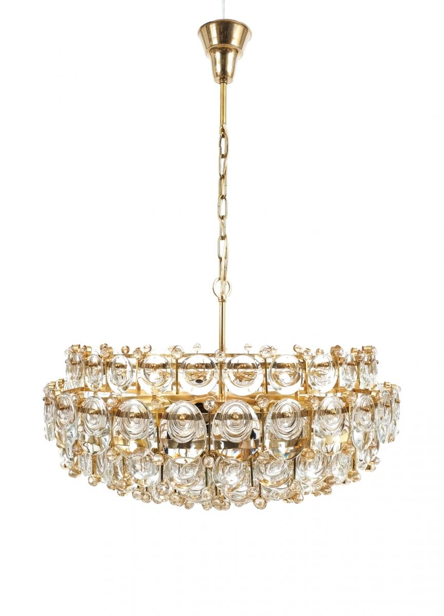 Large Gilt Brass Glass Chandelier From Palwa 1960s For Sale At Intended For Brass And Glass Chandelier (Image 5 of 15)