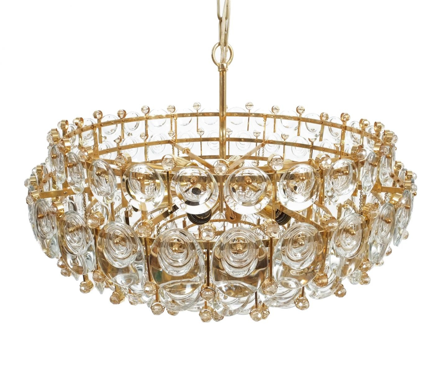 Large Gilt Brass Glass Chandelier From Palwa 1960s For Sale At Throughout Brass And Glass Chandelier (Image 6 of 15)