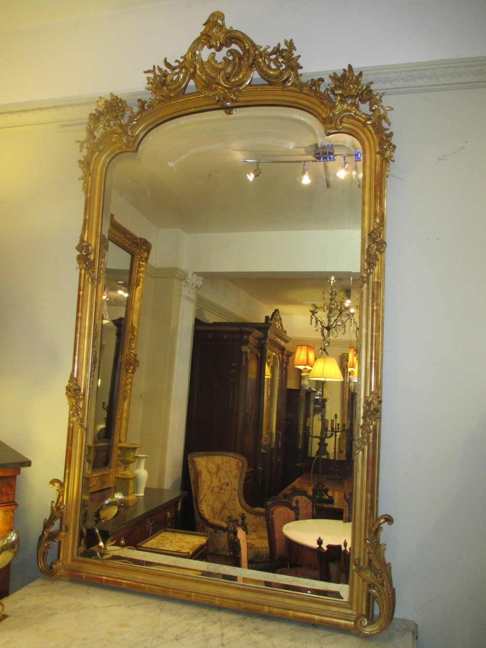 Large Gilt Mirror 308214 Sellingantiquescouk With Large Gilt Mirrors (Image 9 of 15)