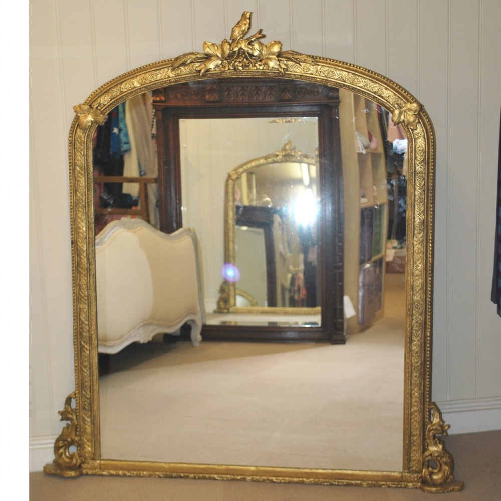 Large Gilt Overmantle Mirror 57 X 51 239376 Regarding Large Overmantle Mirror (Image 10 of 15)