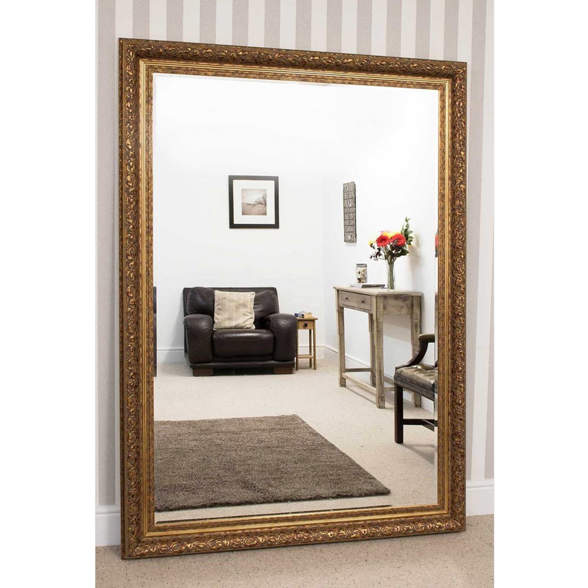 Large Gold Antique French Style Mirror Decorative Mirrors Regarding Large French Style Mirror (Image 8 of 15)