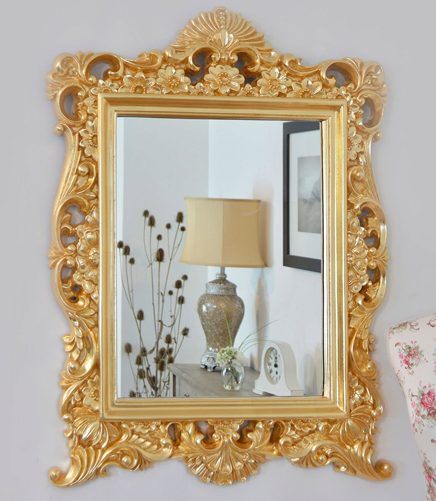 Large Gold Baroque Style Portrait Ornate Wall Mirror 2ft9 X 2ft1 In Gold Ornate Mirror (Image 5 of 15)