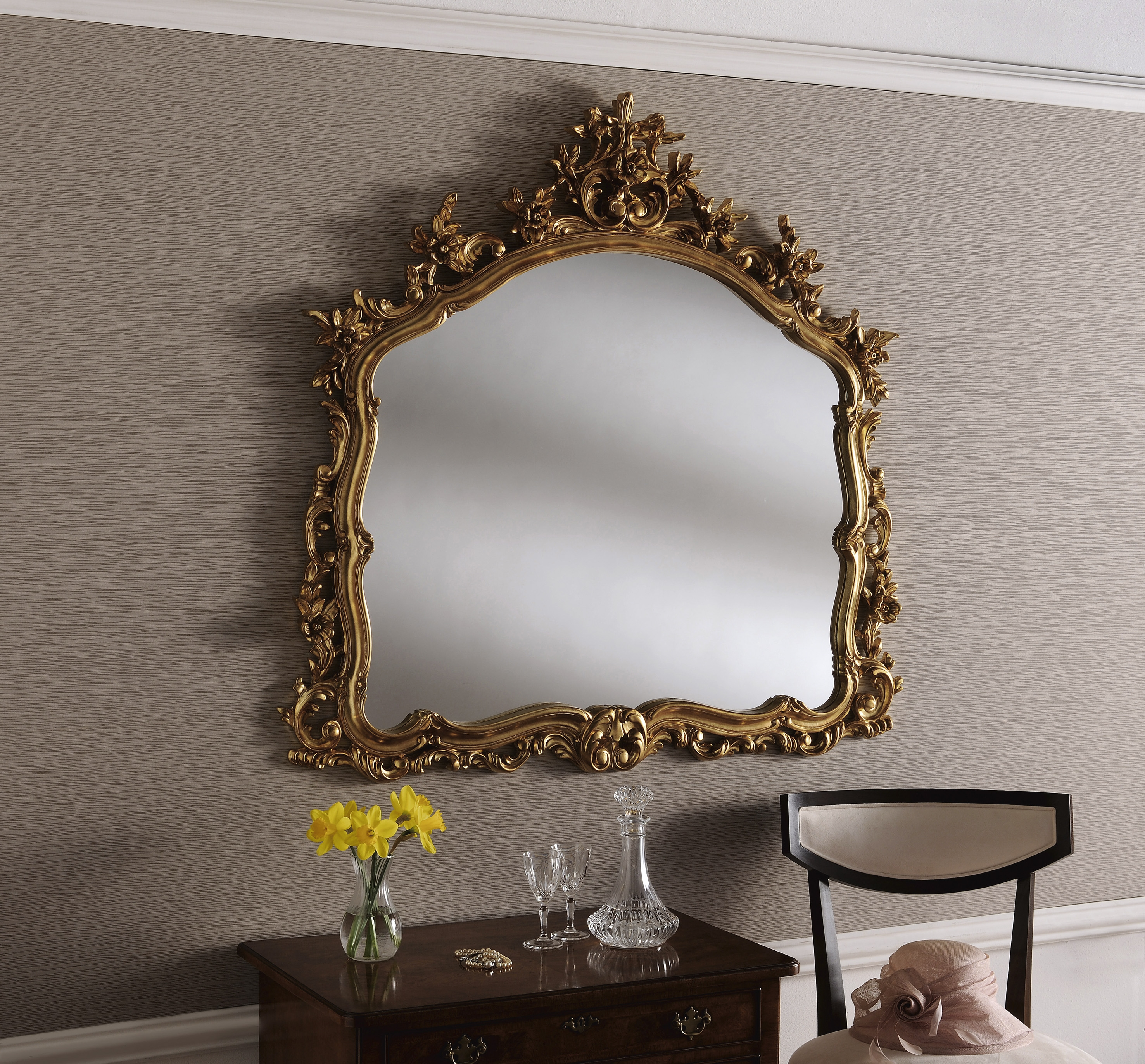 Large Gold Mirror Full Image For Large Decorative Mirror Elegant With Regard To Ornate Gilt Mirrors (Image 8 of 15)