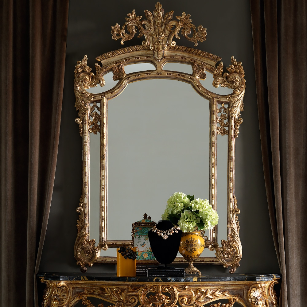 Large Gold Mirror Large Carved Gold Mirror Large Gold Mirror For Rococo Mirrors Cheap (Image 9 of 15)
