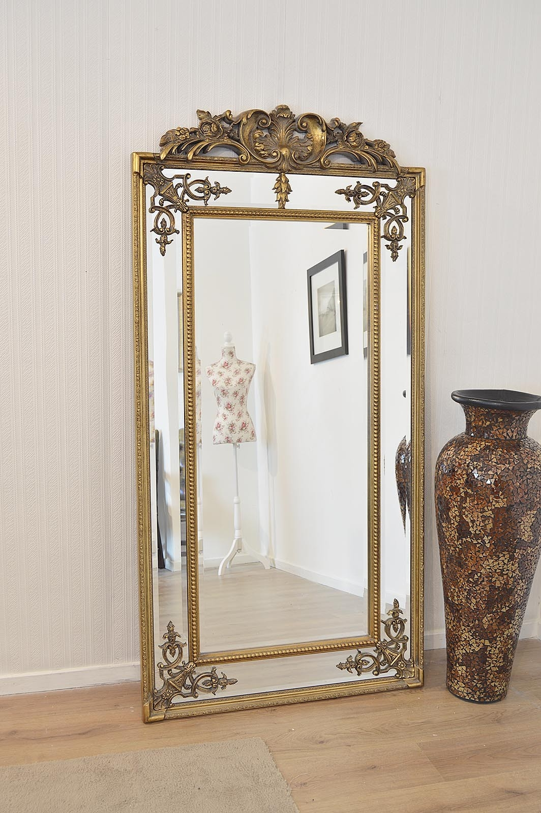 Large Gold Ornate Antique Design Wall Mounted Mirror New 6ft X 3ft For Ornate Antique Mirrors (Image 6 of 14)