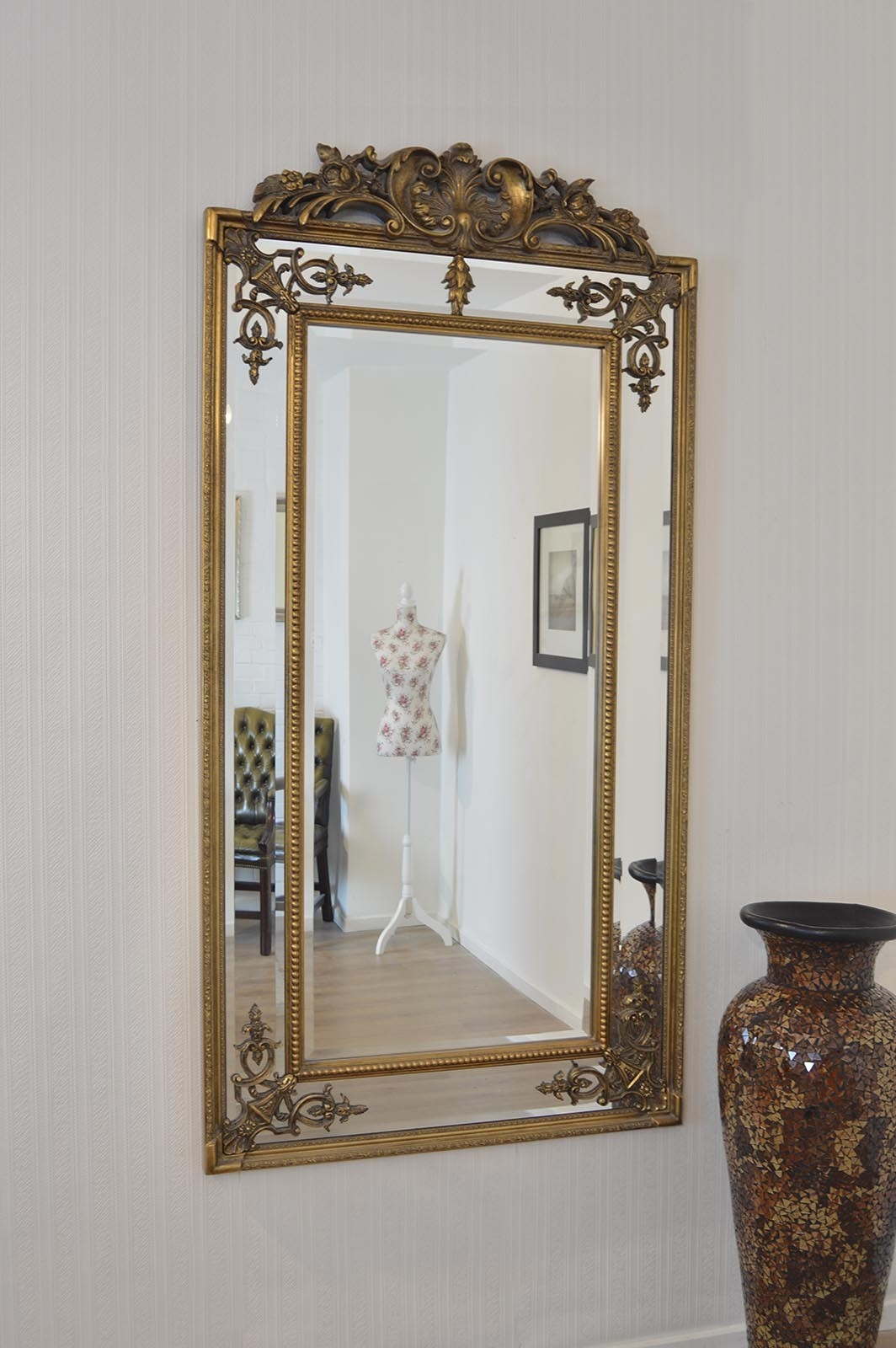 Large Gold Ornate Antique Design Wall Mounted Mirror New 6ft X 3ft Throughout Large Gold Ornate Mirror (Image 9 of 15)