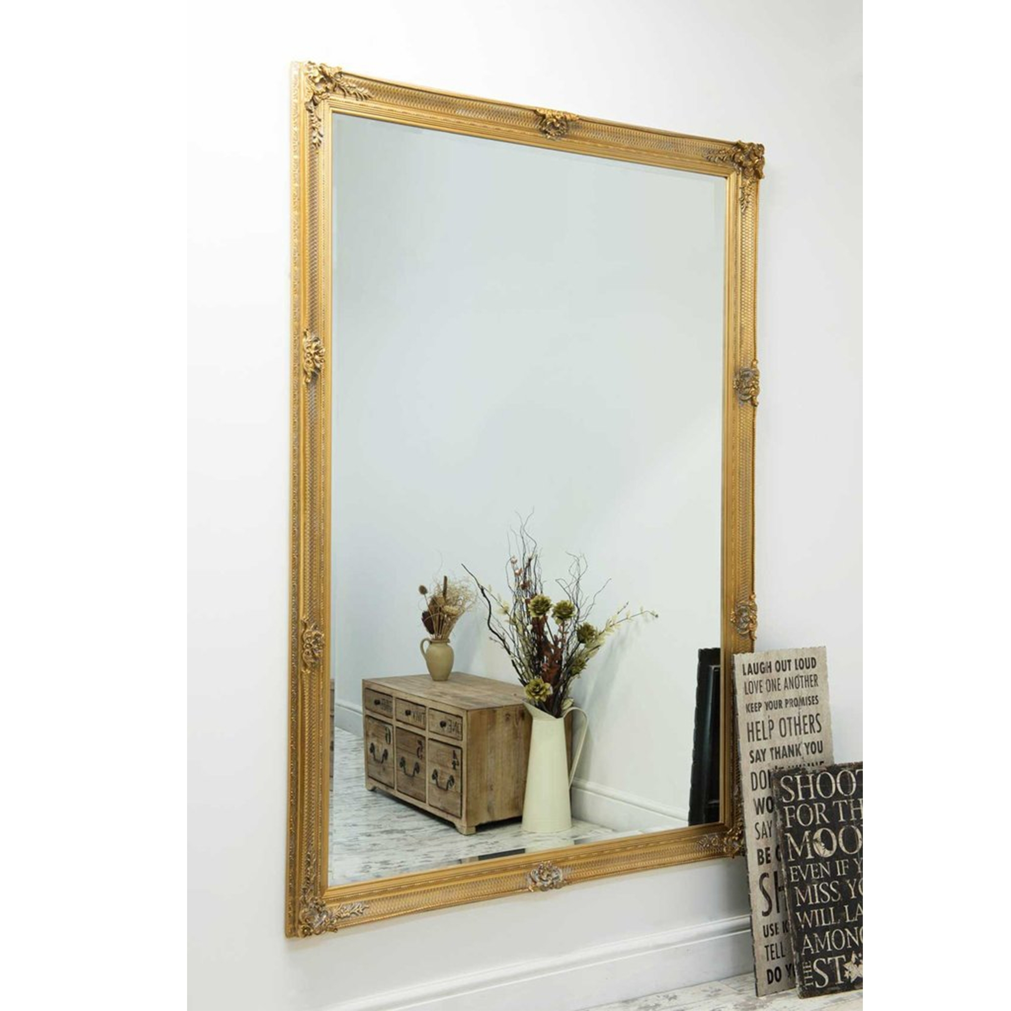 Large Gold Ornate Antique French Style Mirror Decorative Mirrors Pertaining To Large French Style Mirror (Image 9 of 15)