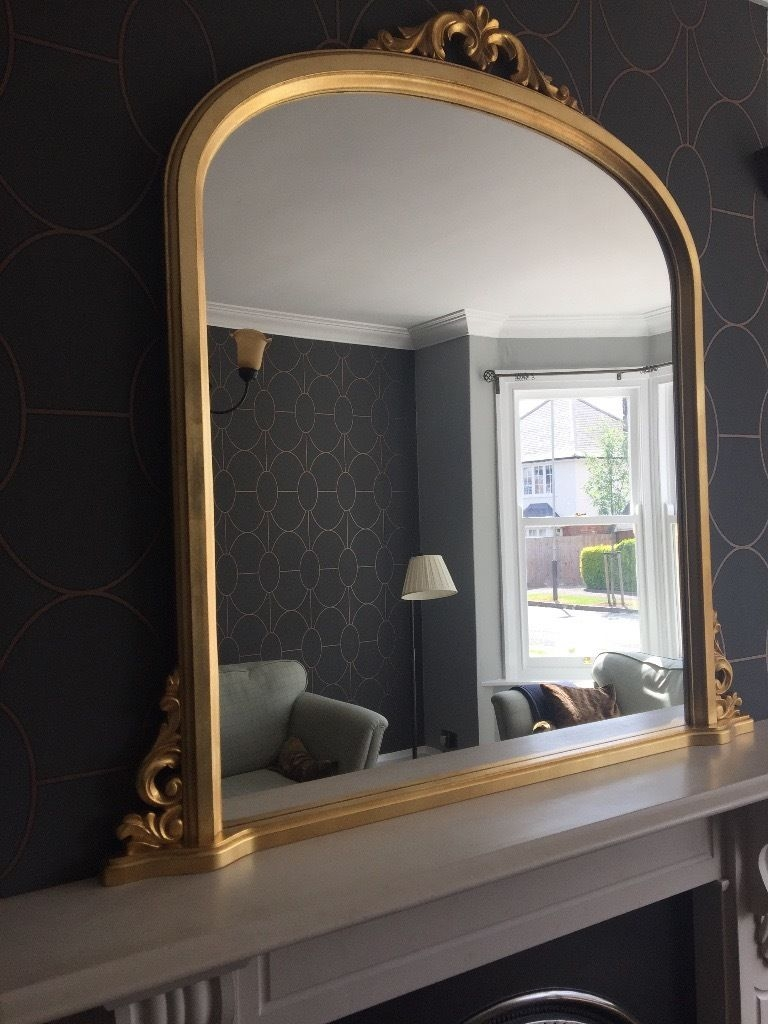 Large Gold Overmantle Mirror In A Period Style Perfect Condition Within Over Mantel Mirror (Image 8 of 15)