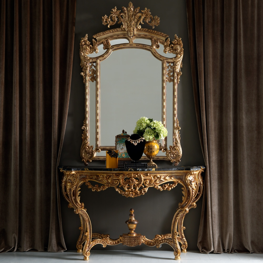 Large Gold Rococo Wall Mirror Juliettes Interiors Chelsea London For Ornate Gold Mirror (Photo 11 of 15)
