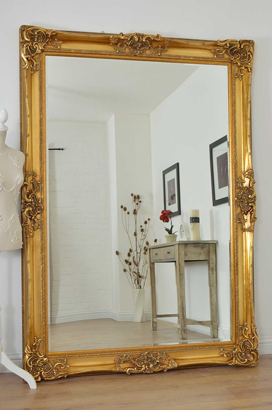 Large Gold Very Ornate Antique Design Wall Mirror 7ft X 5ft 213cm Regarding Vintage Floor Mirrors Large (Image 9 of 15)