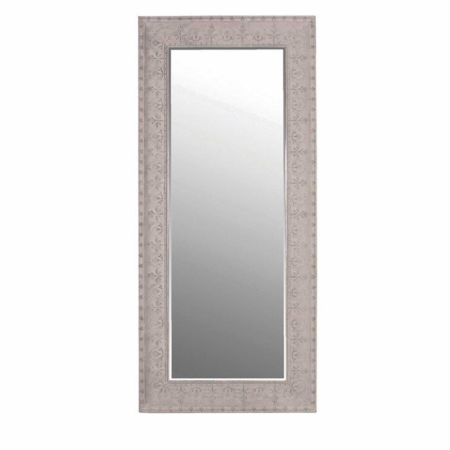 Large Grey Floral Metal Embossed Rectangular Tall Slim Wall Mirror Inside Slim Wall Mirror (Image 6 of 15)