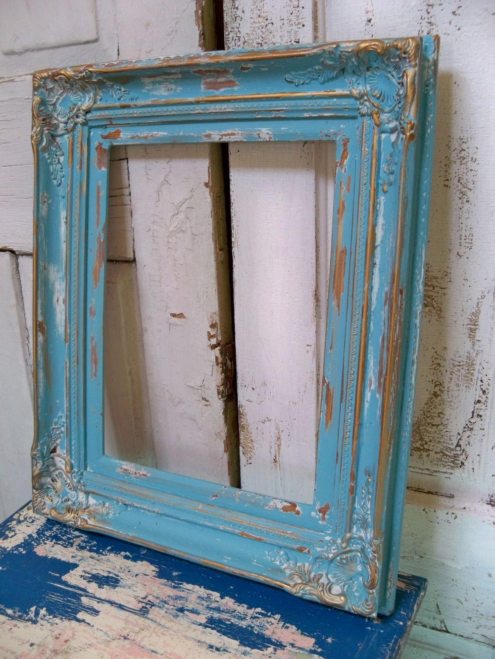 Large Heavy Wood Frame Beachy Blue Distressed Shab Chic Wall For Blue Distressed Mirror (Image 10 of 15)