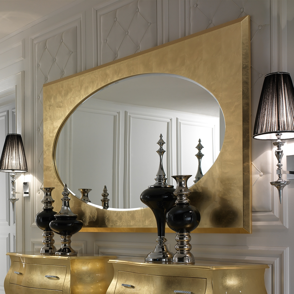 Large Italian Modern Gold Leaf Mirror Juliettes Interiors In Modern Gold Mirror (Image 6 of 15)