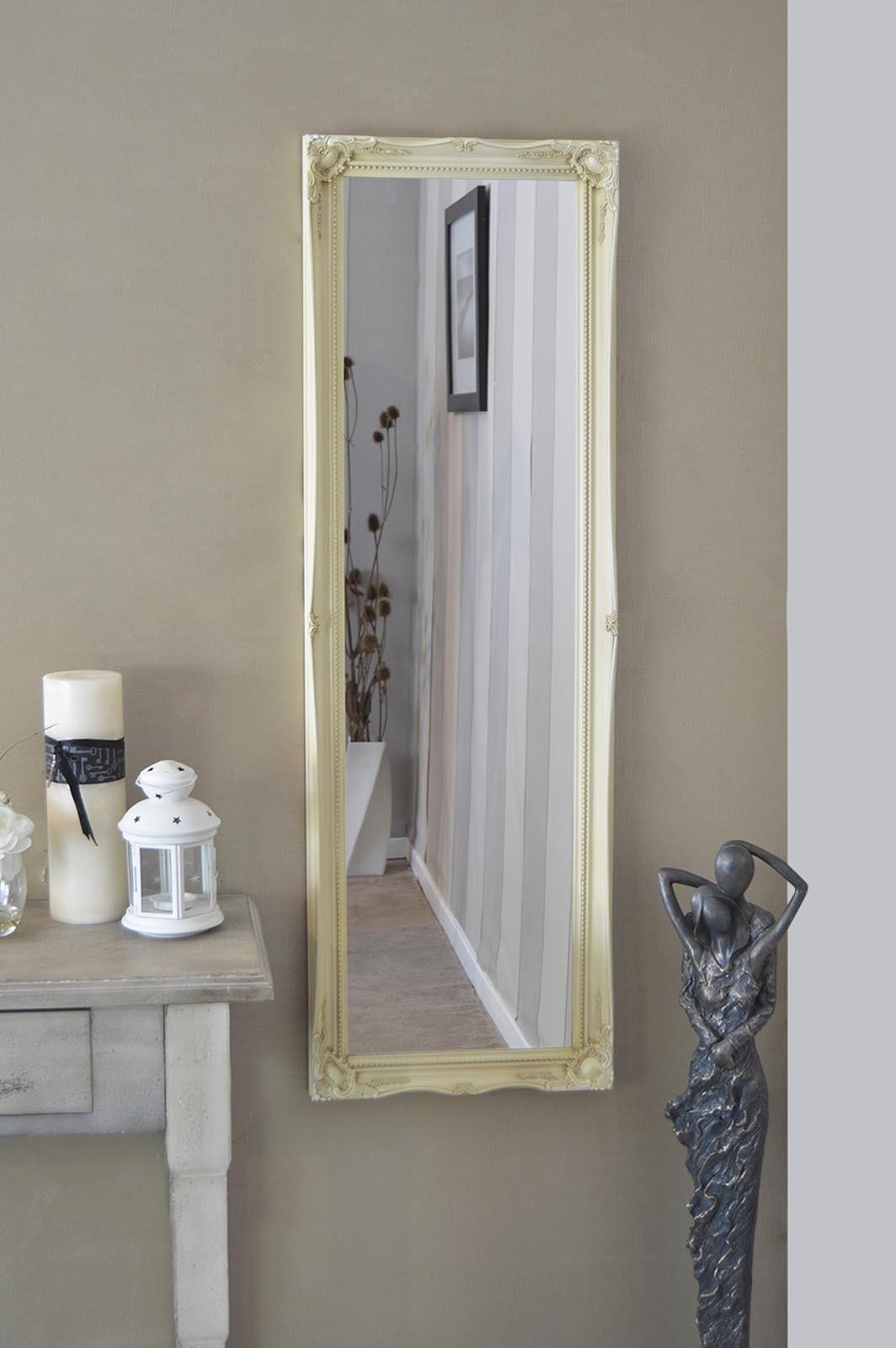 Large Ivory Antique Shab Chic Dress Wall Mirror Rectangle Wood Inside Shabby Chic Free Standing Mirror (View 6 of 15)