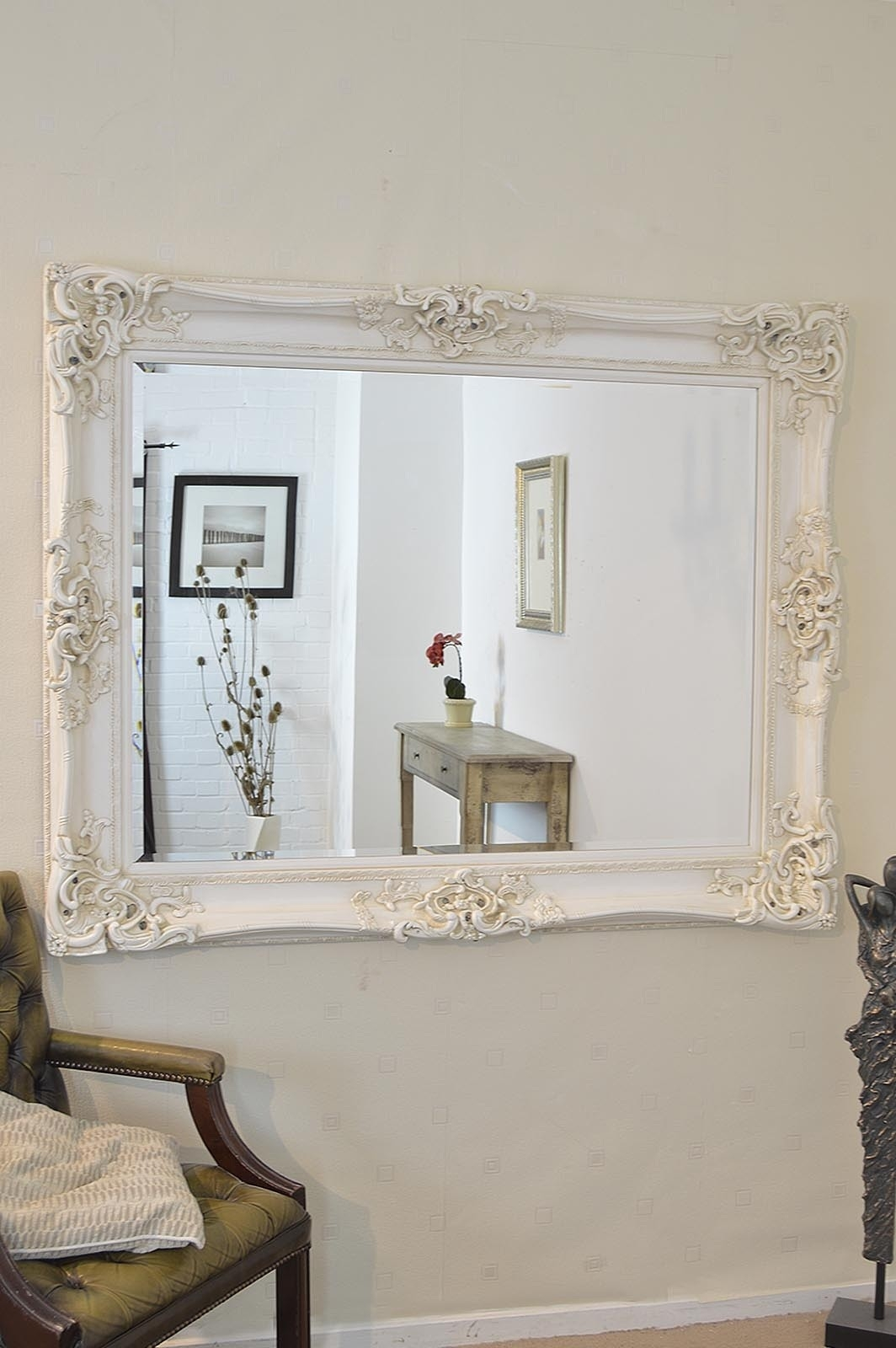 Large Ivory Antique Shab Chic Ornate Big Wall Mirror 5ft X 4ft With Regard To Large White Shabby Chic Mirror (Image 3 of 15)