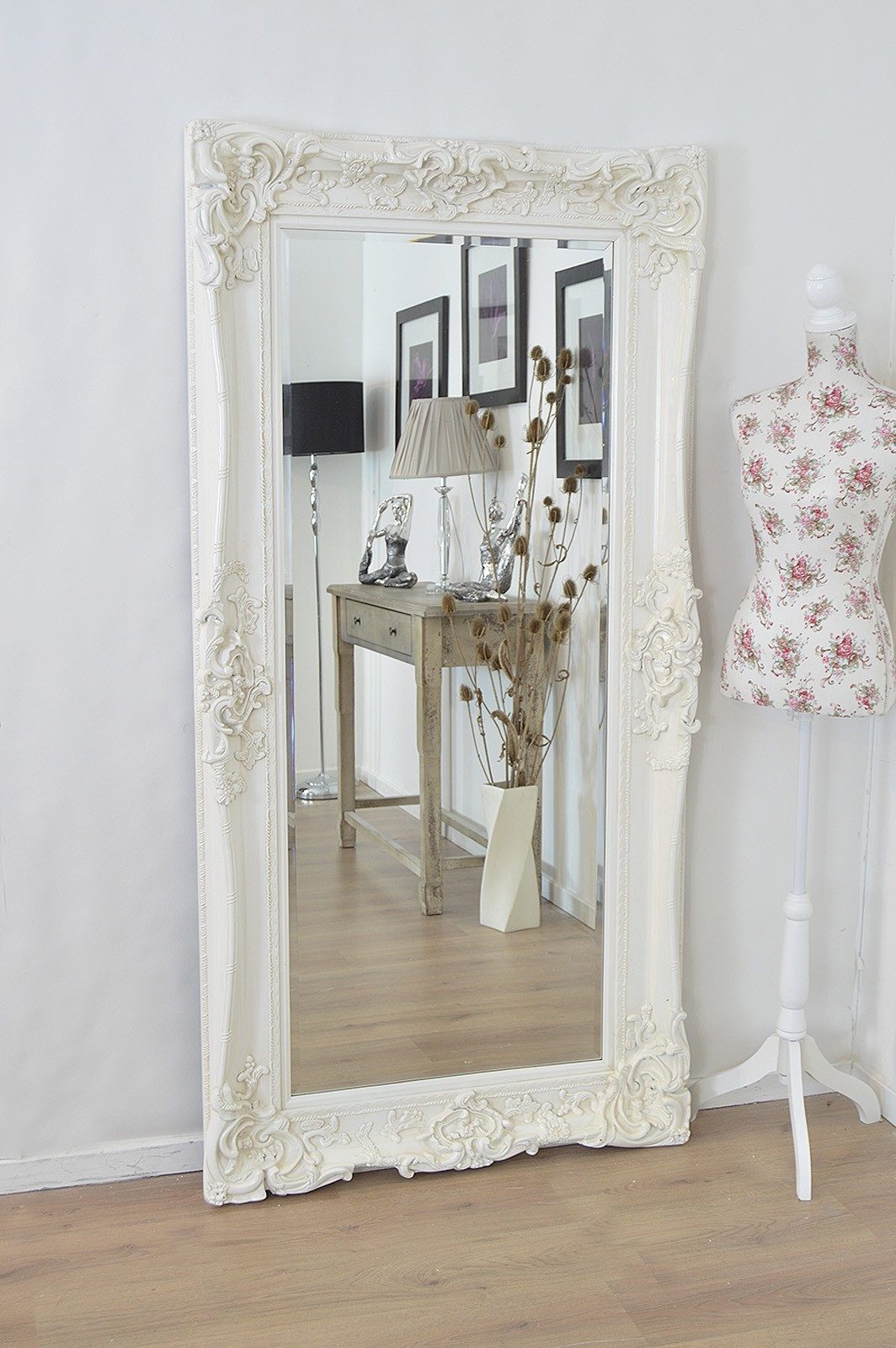 Large Ivory Antique Shab Chic Ornate Wall Mirror 6ft X 3ft Regarding Large White Shabby Chic Mirror (Image 4 of 15)