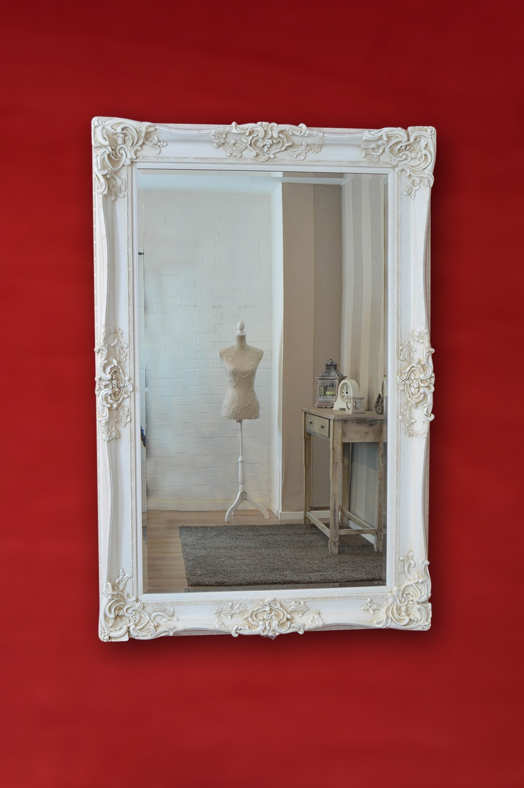 Large Ivory Ornate Frame Antique Design Big Wall Mirror 6ft X 4ft In Ivory Ornate Mirror (Image 8 of 15)
