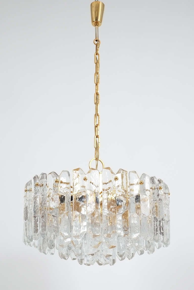 Large Jt Kalmar Tiered Glass Chandelier Circa 1960 For Sale At Intended For Large Glass Chandelier (Image 7 of 15)