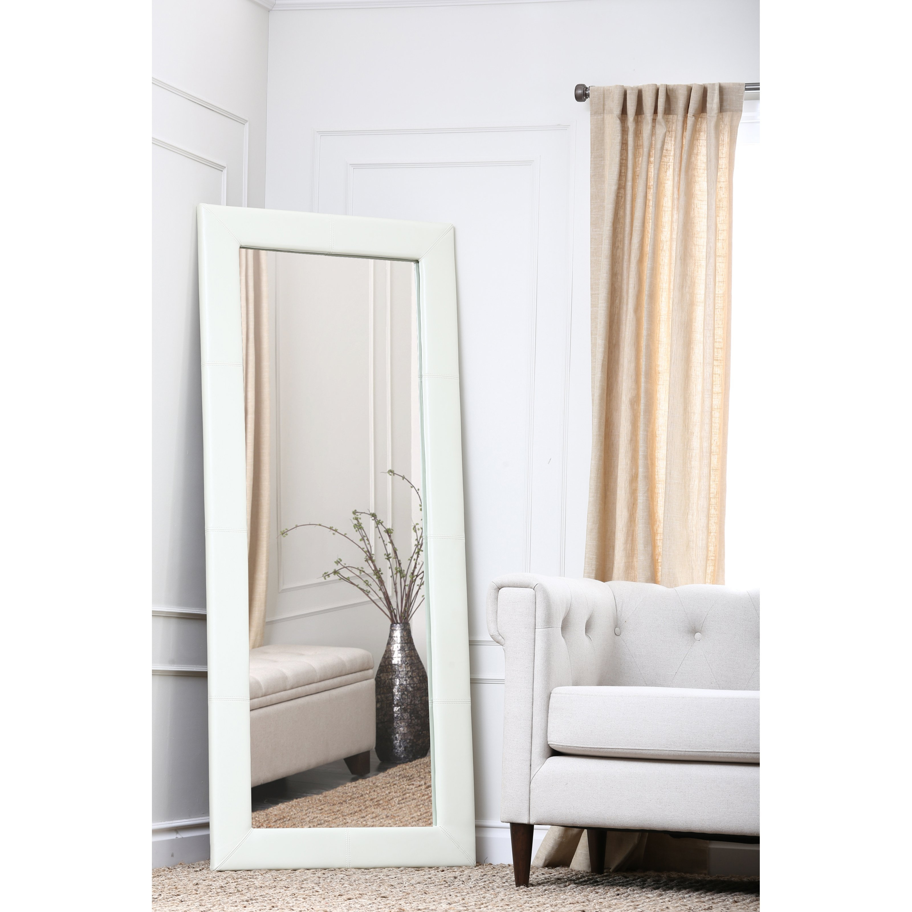 Large Leather Floor Mirror White 31w X 70h In Mirrors At For Large White Floor Mirror (Image 10 of 15)