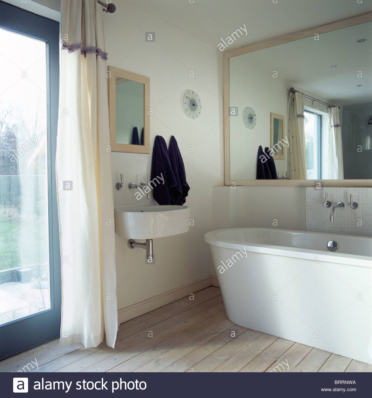 Large Mirror Above Bath With White Mosaic Surround In Modern White With Modern Large Mirror (View 8 of 15)
