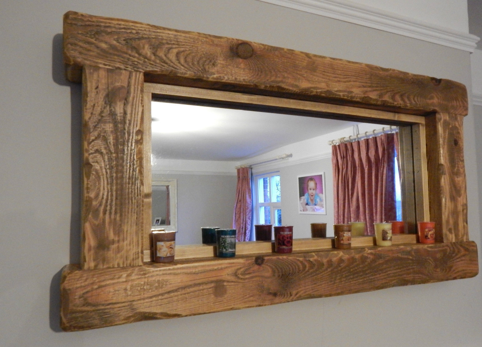 Large Mirror Handmade Oak Frame Traditional Rustic Wood Within Rustic Oak Framed Mirrors (Image 7 of 15)