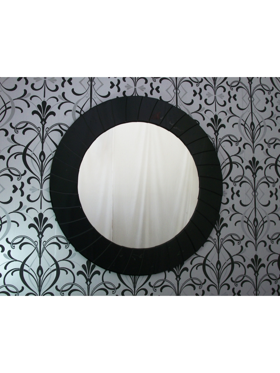 Large Modern Art Deco Contemporary Round Black Wall Mirror Inside Large Black Round Mirror (Image 8 of 15)